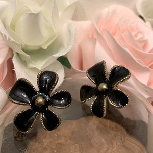 Black flower petals earrings